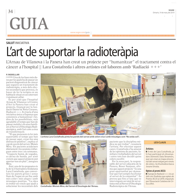 lara costafreda diseño arte social hospital de lleida arnau de vilanova planta de radioterapia